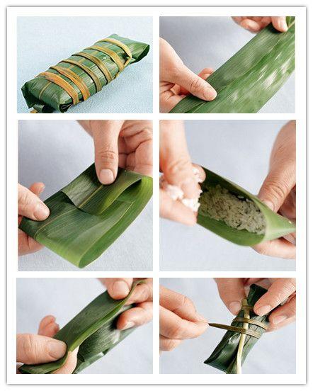长方形粽子的包法步骤(图解)_美食制作_天下美食
