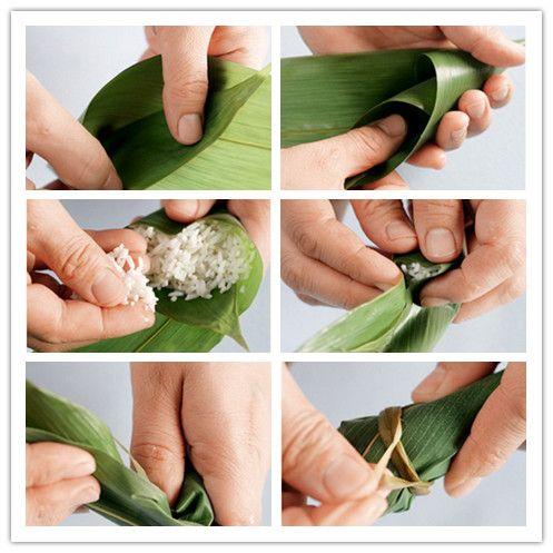 圆锥形粽子(牛角粽)的包法步骤(图解)